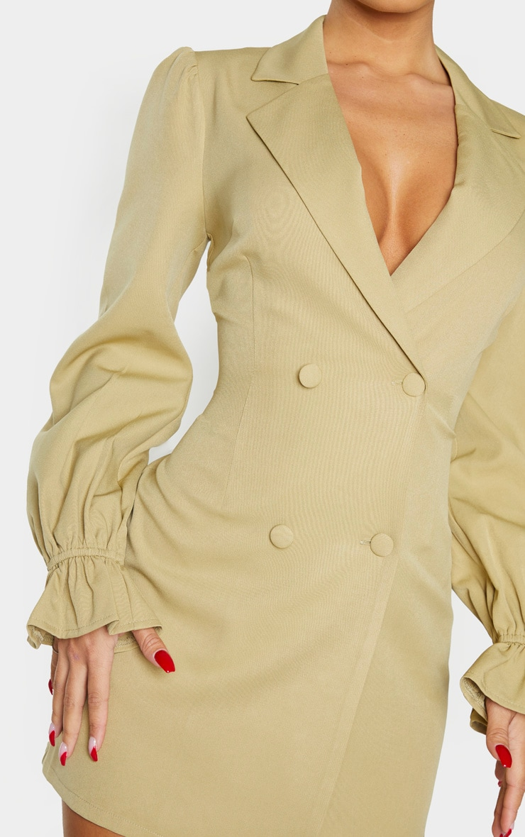 Soft Olive Frill Cuff Blazer Dress 4