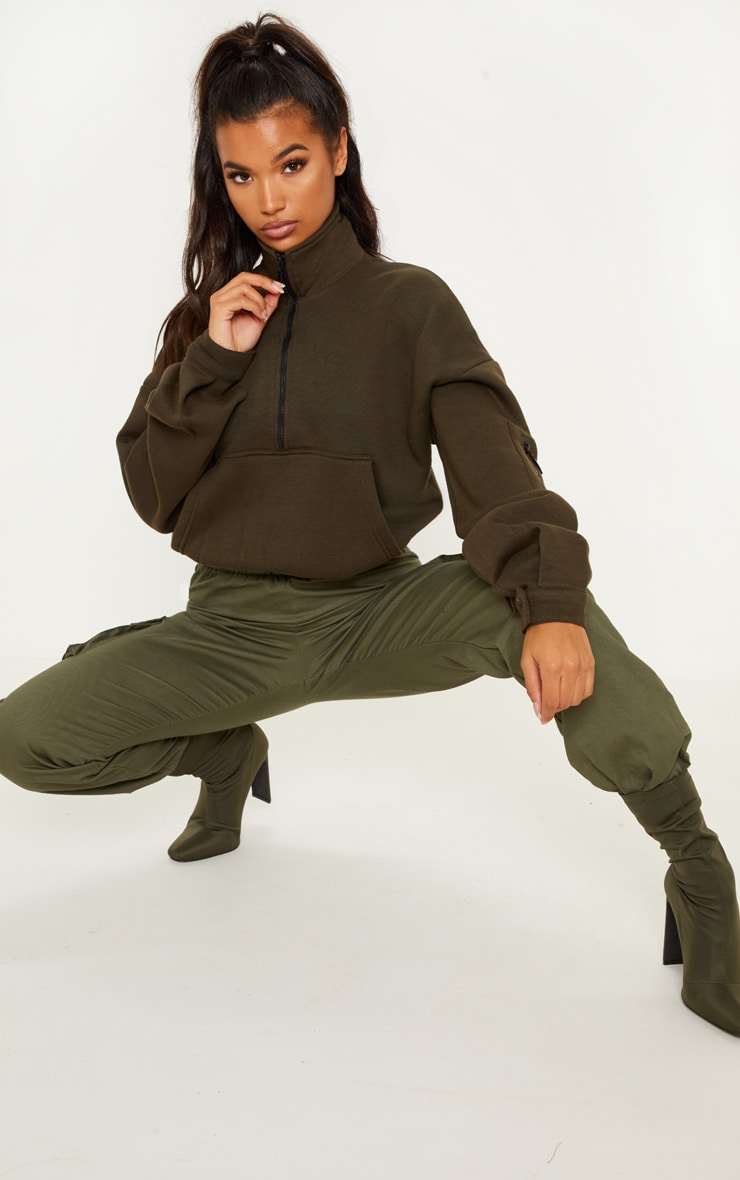 Khaki Oversized Zip Front Sweater  3
