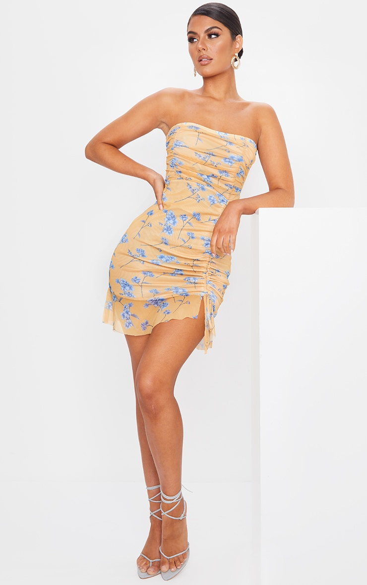 Yellow Ditsy Floral Mesh Ruched Frill Edge Bandeau Bodycon Dress 3