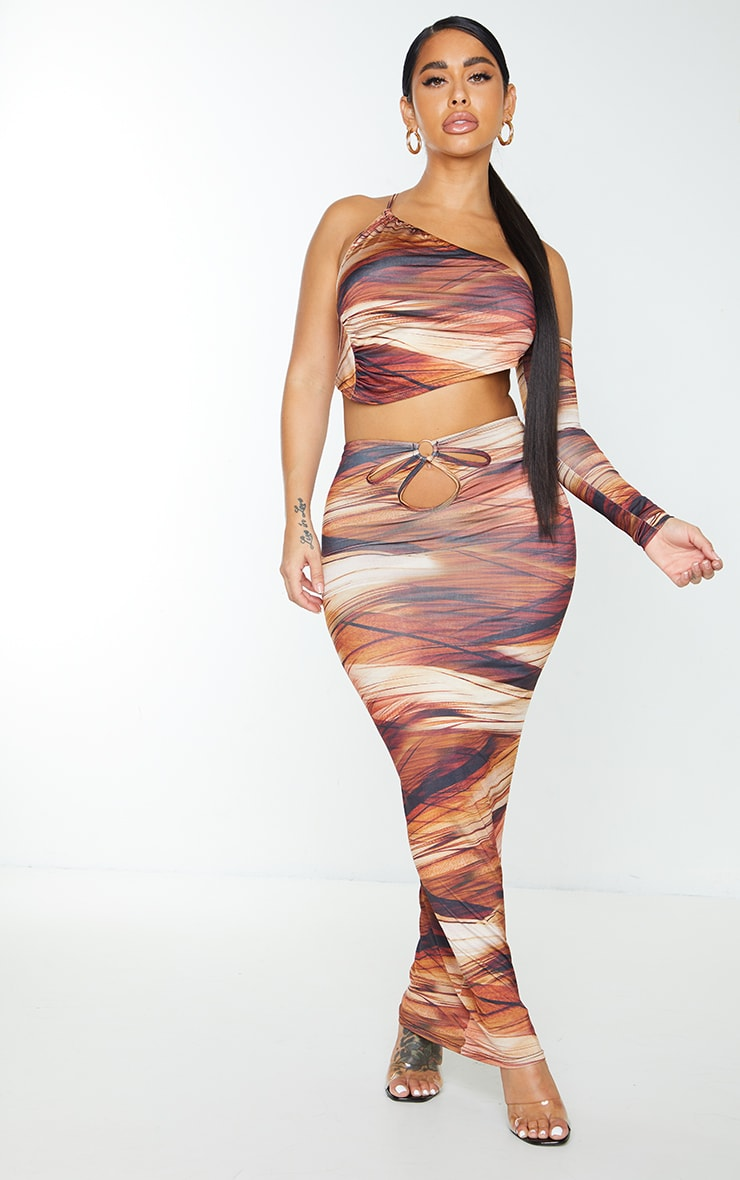 Shape Brown Layered Print Slinky Cut Out Detail Midaxi Skirt 1