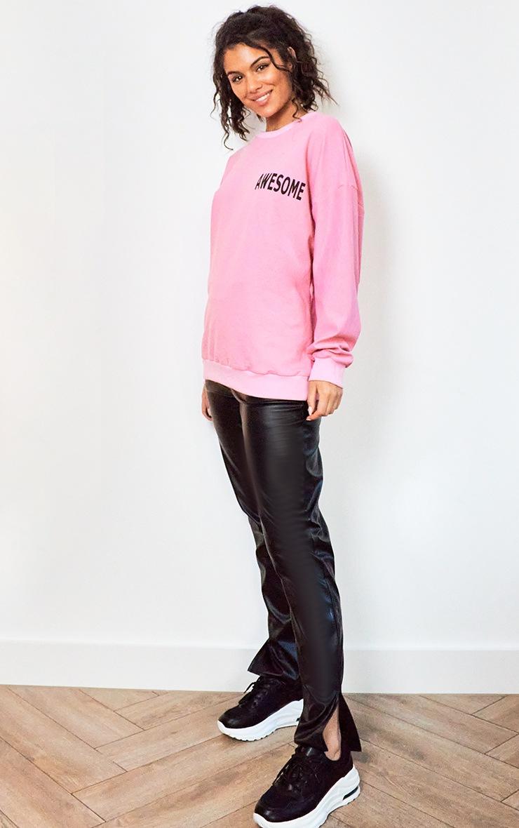 Bright Pink Awesome Printed Sweatshirt 3