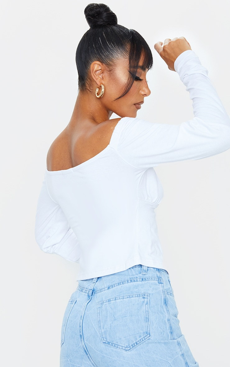 White Ruched Cup Tie Front Longsleeve Crop Top 2