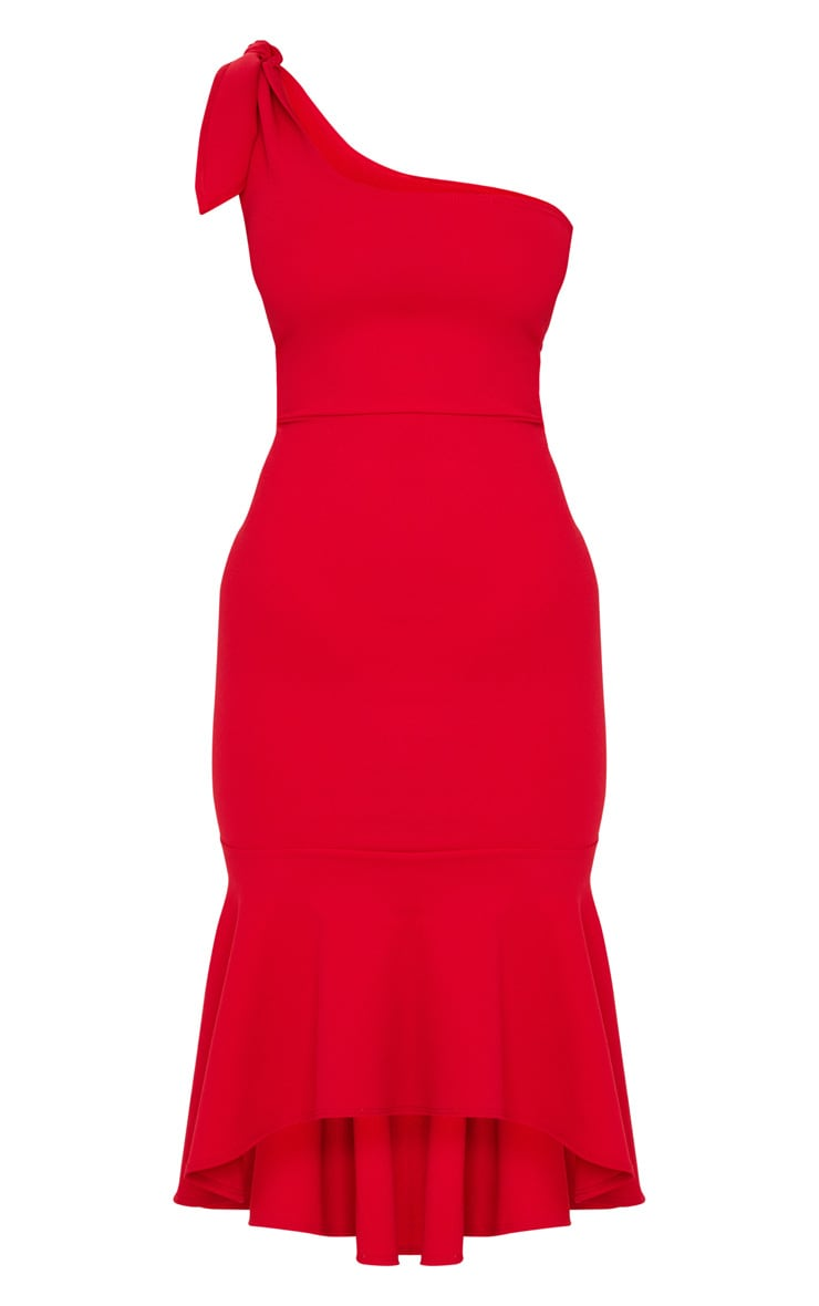Red Tie Shoulder Asymmetric Hem Midi Dress 5
