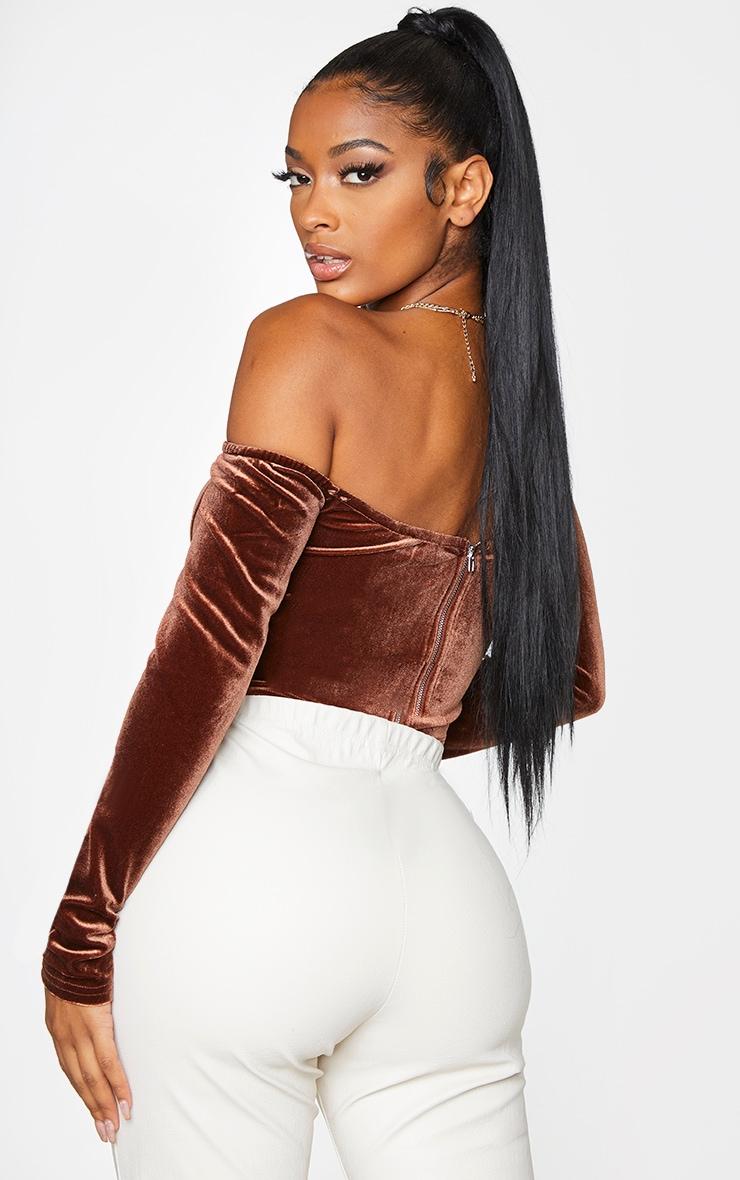 Shape Chocolate Brown Velvet Bardot Long Sleeve Corset 2