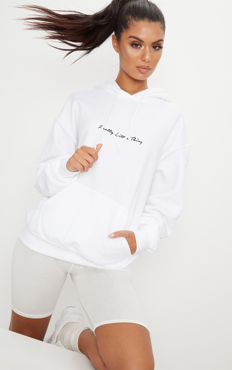 PRETTYLITTLETHING White Embroidered Oversized Hoodie 2