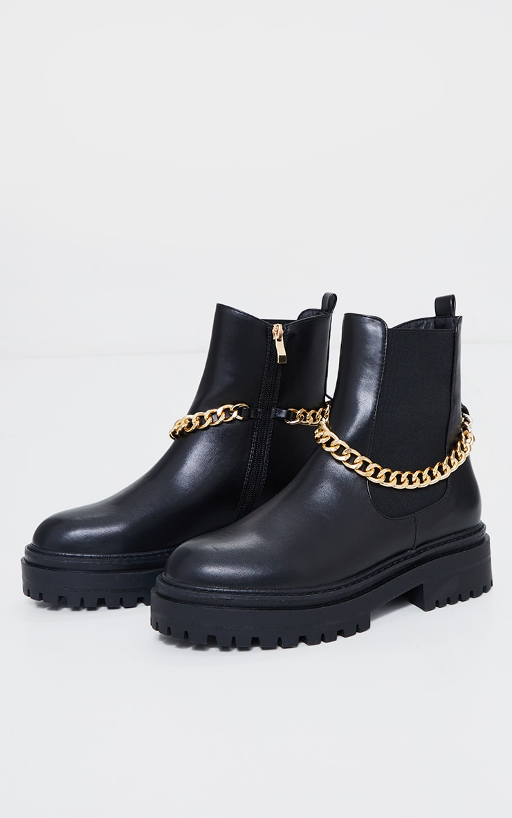 Black Chunky Chain Chelsea Boots 3