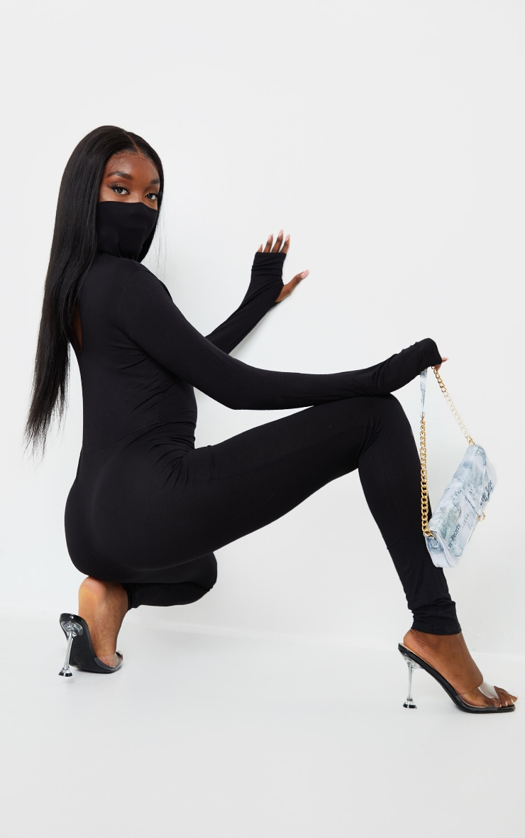 Tall Black Jersey Mask Jumpsuit 2
