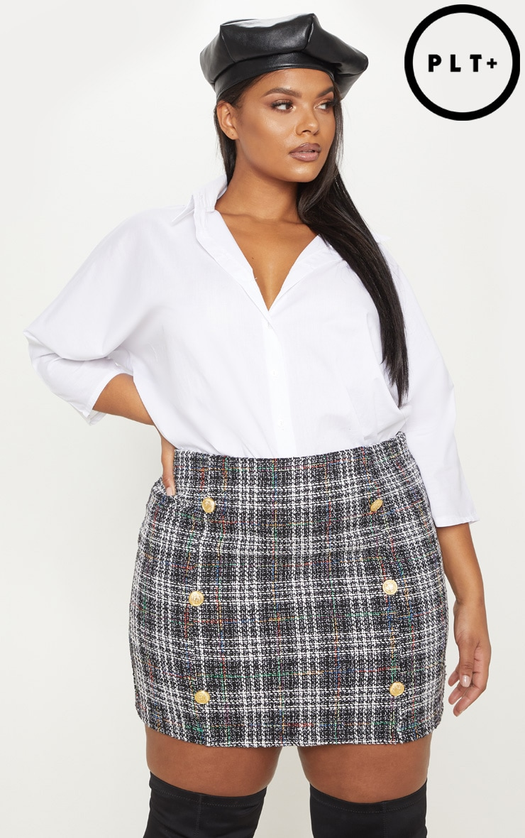 Plus Black Tweed Button Mini Skirt