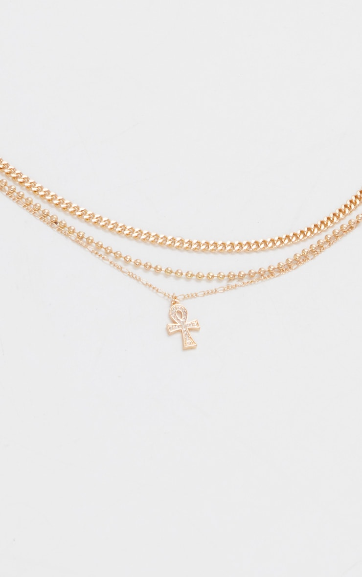 Gold Ank Multi Layering Necklace 3