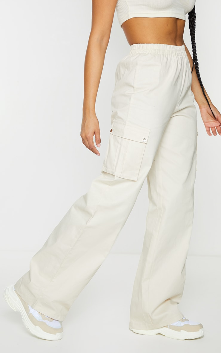 Cream Wide Leg Cargo Pants 2