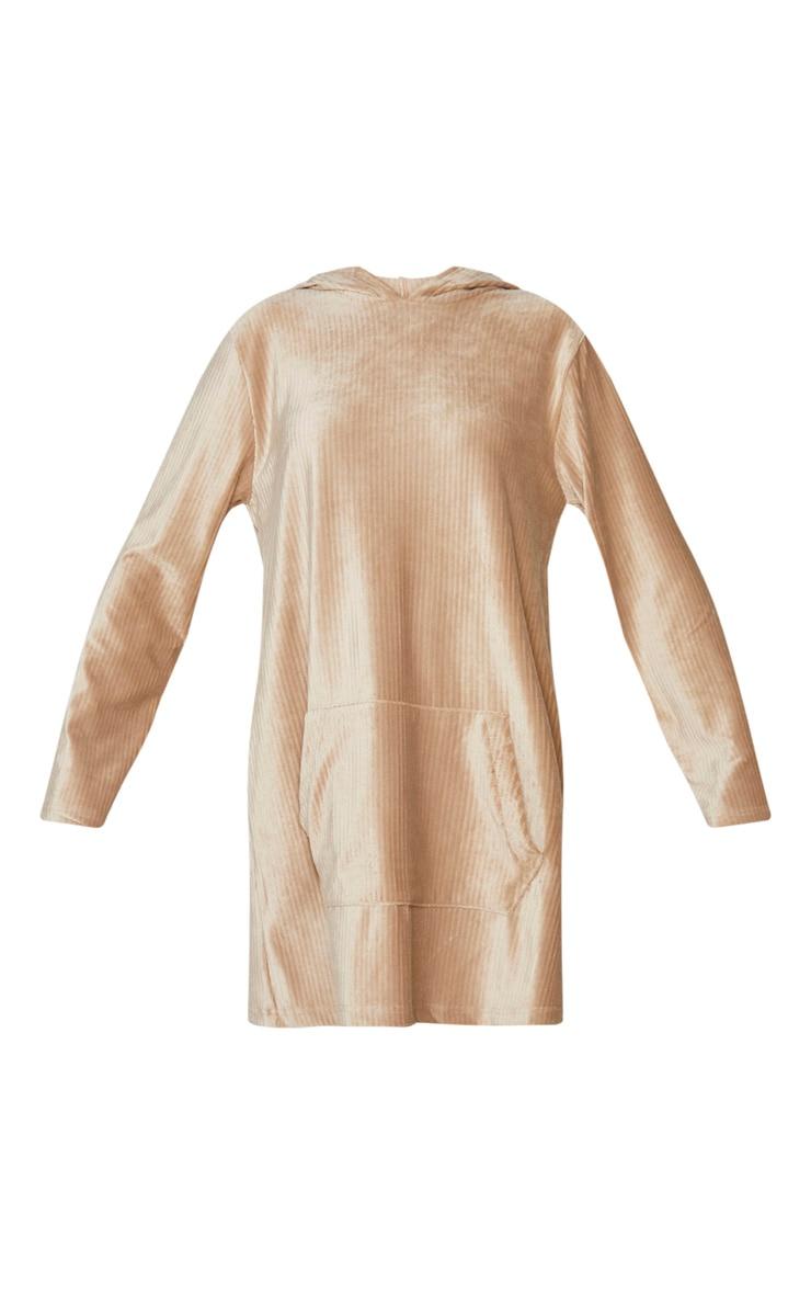 Beige Soft Rib Oversized Long Sleeve Hoodie Jumper Dress 5