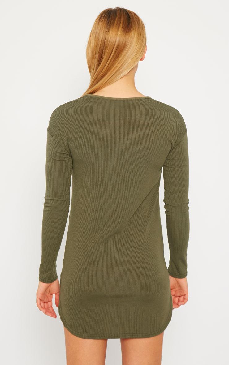 Basic Khaki Curve Hem Dress 3