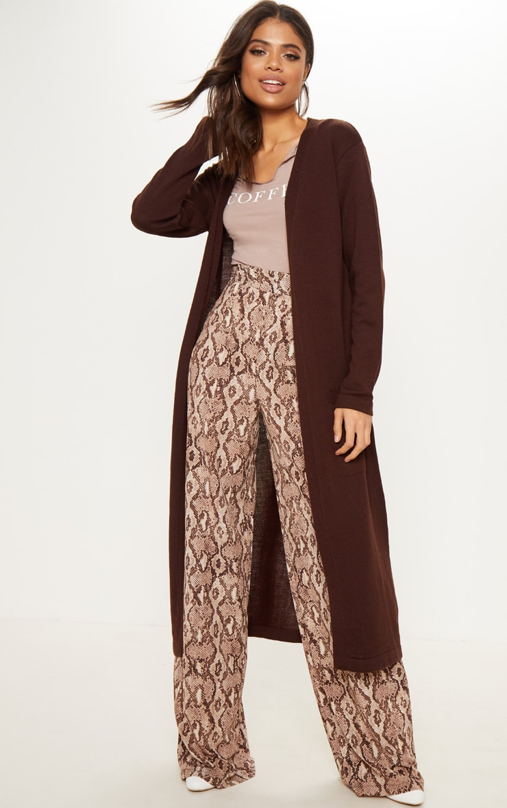 Chocolate Knitted Maxi Cardigan With Pockets