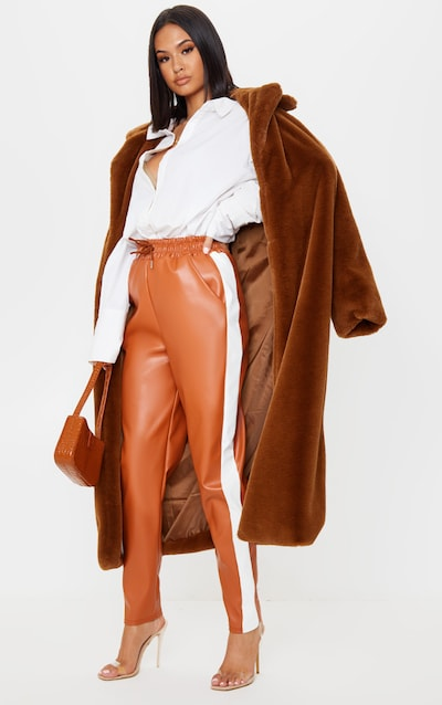 Tan Faux Leather Side Stripe Jogger