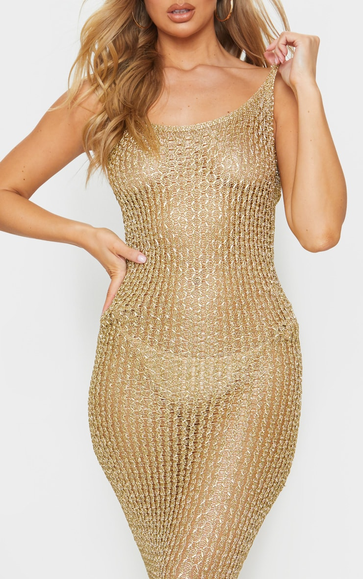 Gold Metallic Knitted Maxi Dress 4