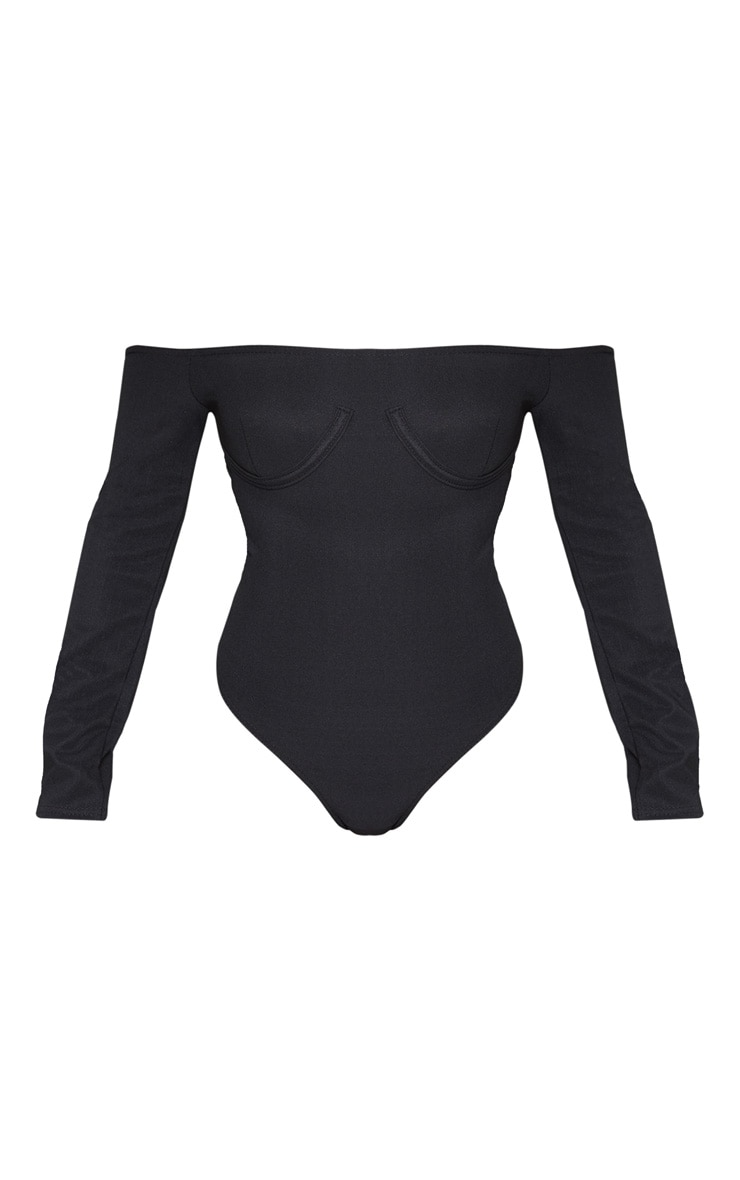 Black Bandage Bardot Cup Detail Bodysuit 3