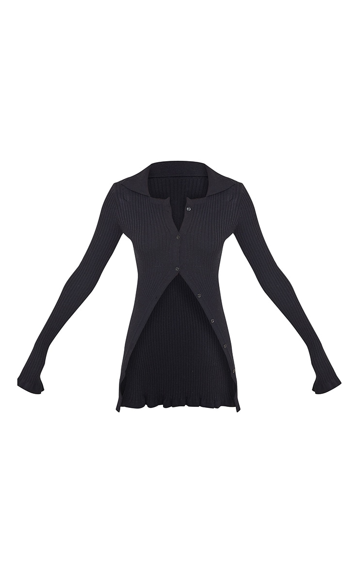 Black Ribbed Knitted Long Sleeve Cardigan 5
