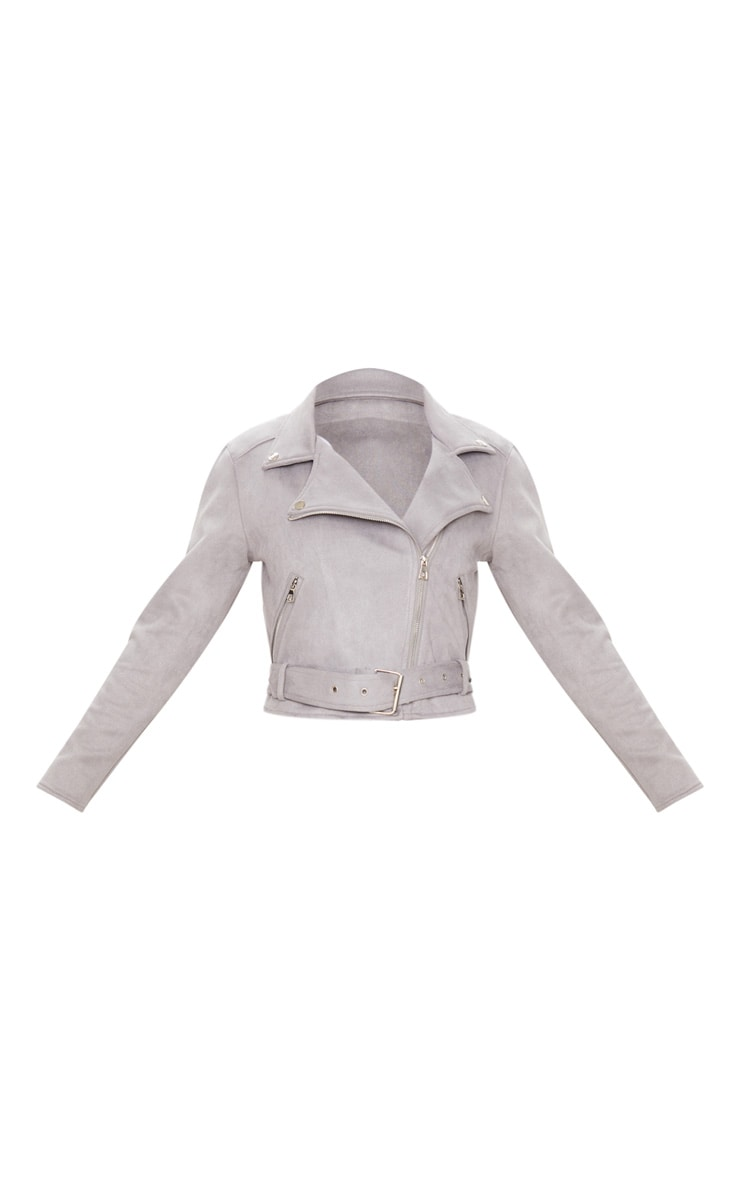 Grey Faux Suede Biker Jacket 6