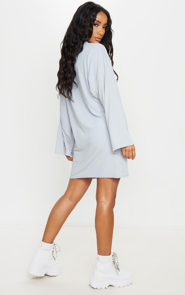 Grey Rib Flare Sleeve Jumper Dress 2
