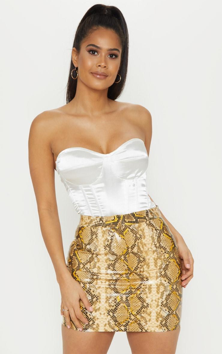 Brown Snakeskin Faux Leather Mini Skirt  1