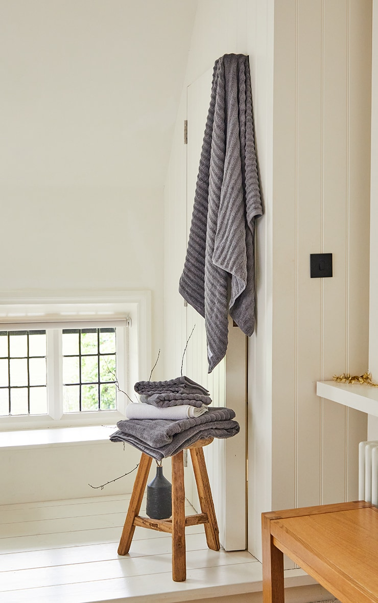 Charcoal Textured Ribbed Cotton Large Bath Towel  1