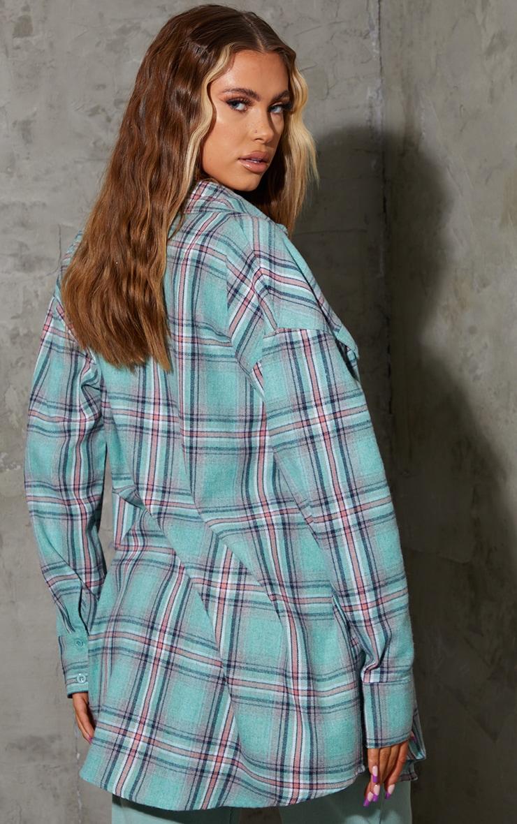 Sky Blue Tartan Checked Flannel Pocket Detail Oversized Shirt 2