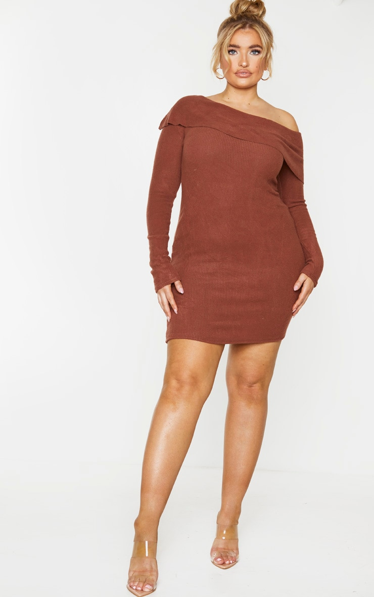 Plus Chocolate Brown Brushed Ribbed Frill Detail Bodycon Dress 3