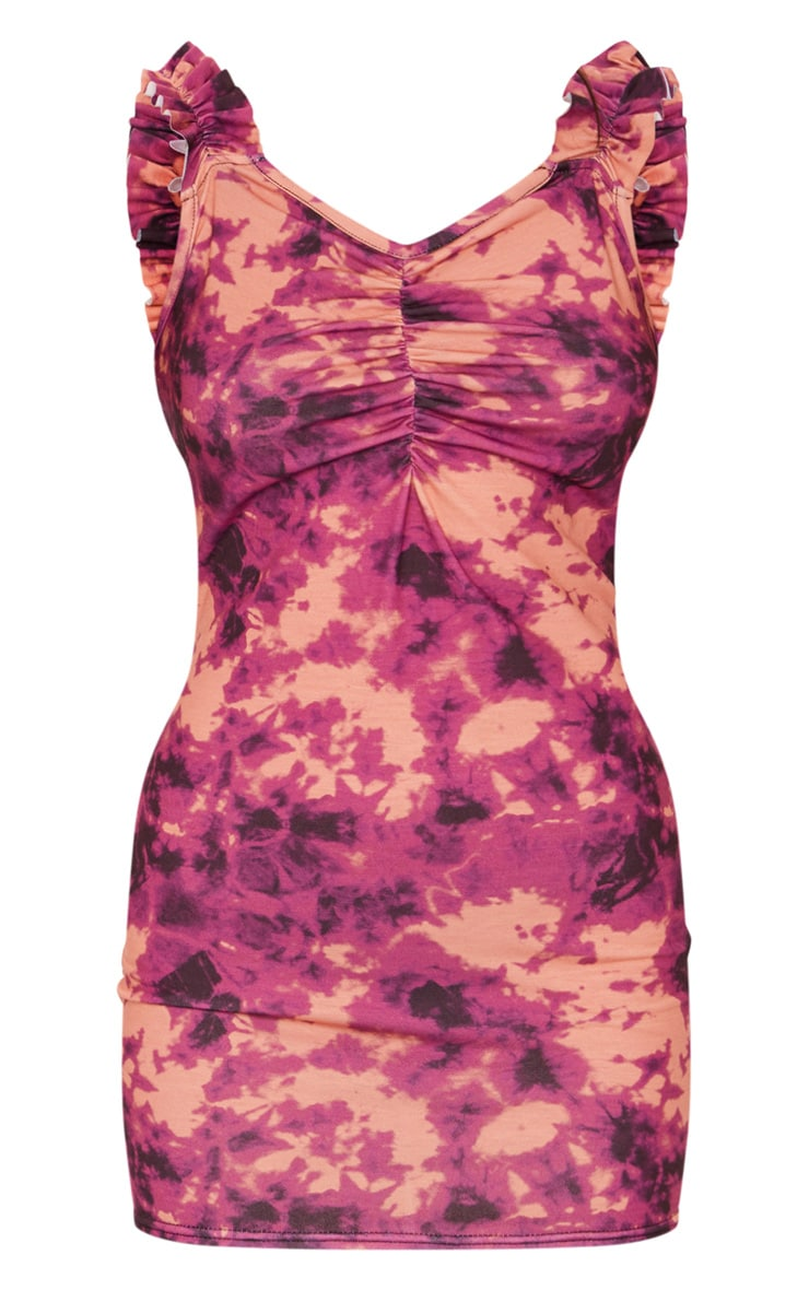 Purple Tie Dye Ruched Bodycon Dress 5