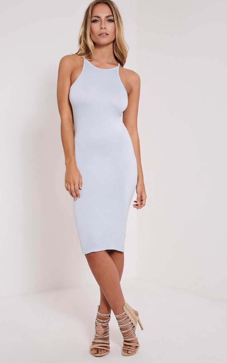 Basic Powder Blue Thin Strap Racer Neck Jersey Midi Dress 4