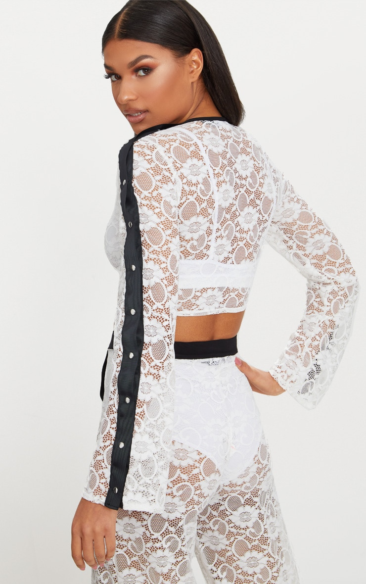 White Lace Popper High Neck Top 2