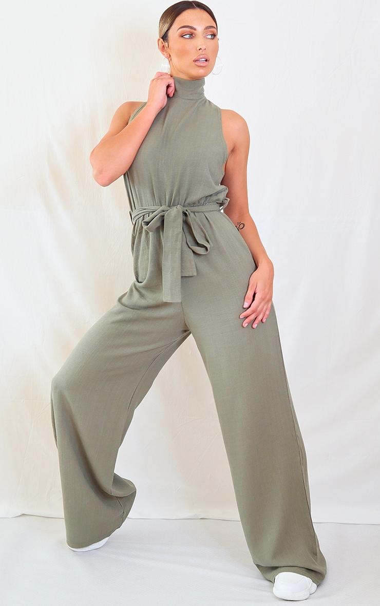 Khaki Woven High Neck Tie Waist Jumpsuit 1