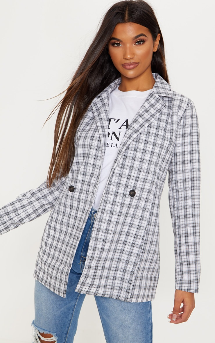 White Checked Blazer