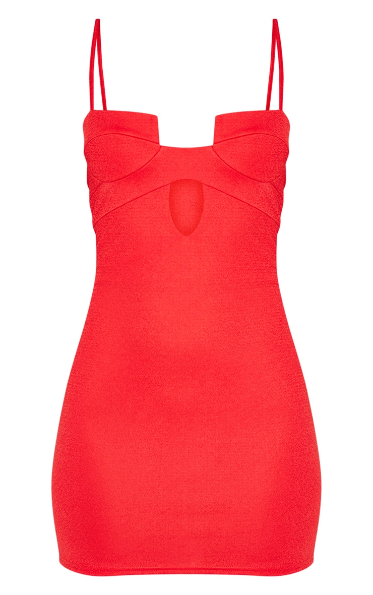 Red Sleeveless Cut Out Cup Bodycon Dress 3