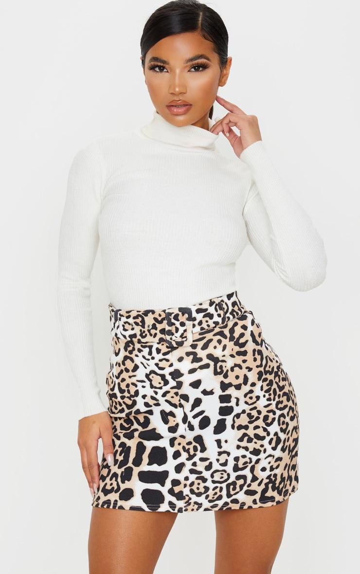 Tan Leopard Print Belted Mini Skirt 1