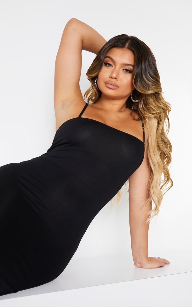 Black Jersey Spaghetti Strap Midaxi Dress 4