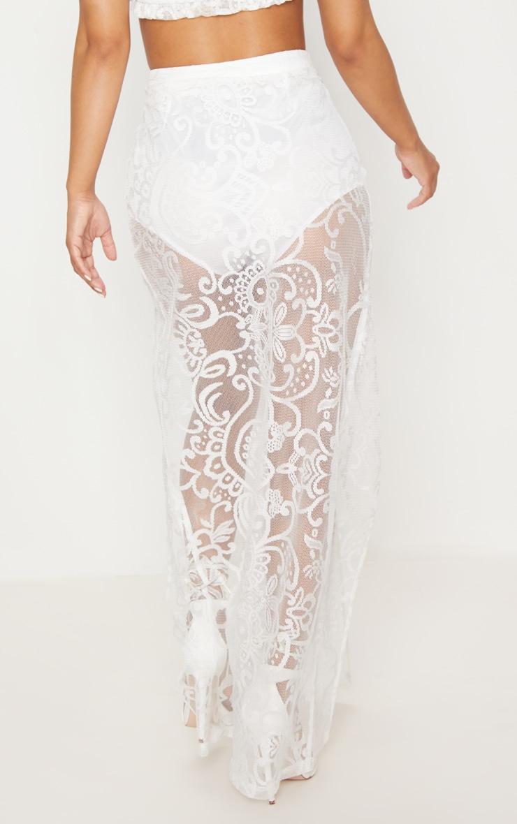 Petite White Lace Split Maxi Skirt  4