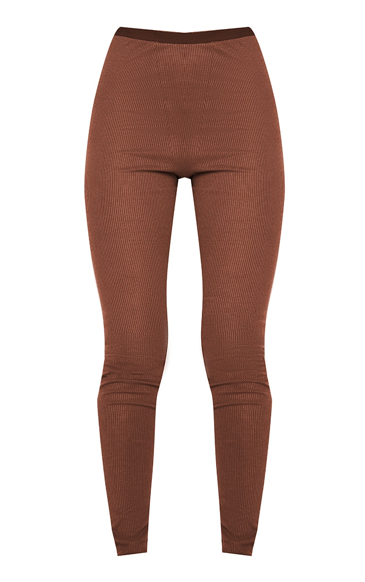 Chocolate Brown Ribbed High Waist Leggings 5