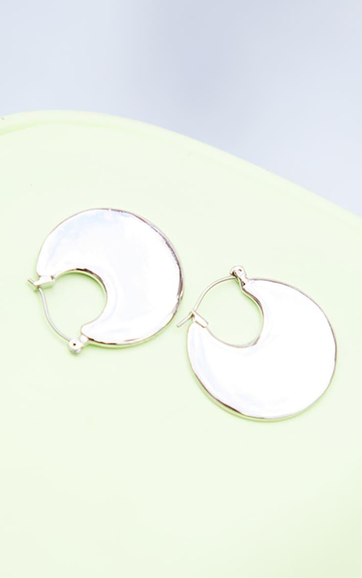 Silver Disc Hoop Earrings 3