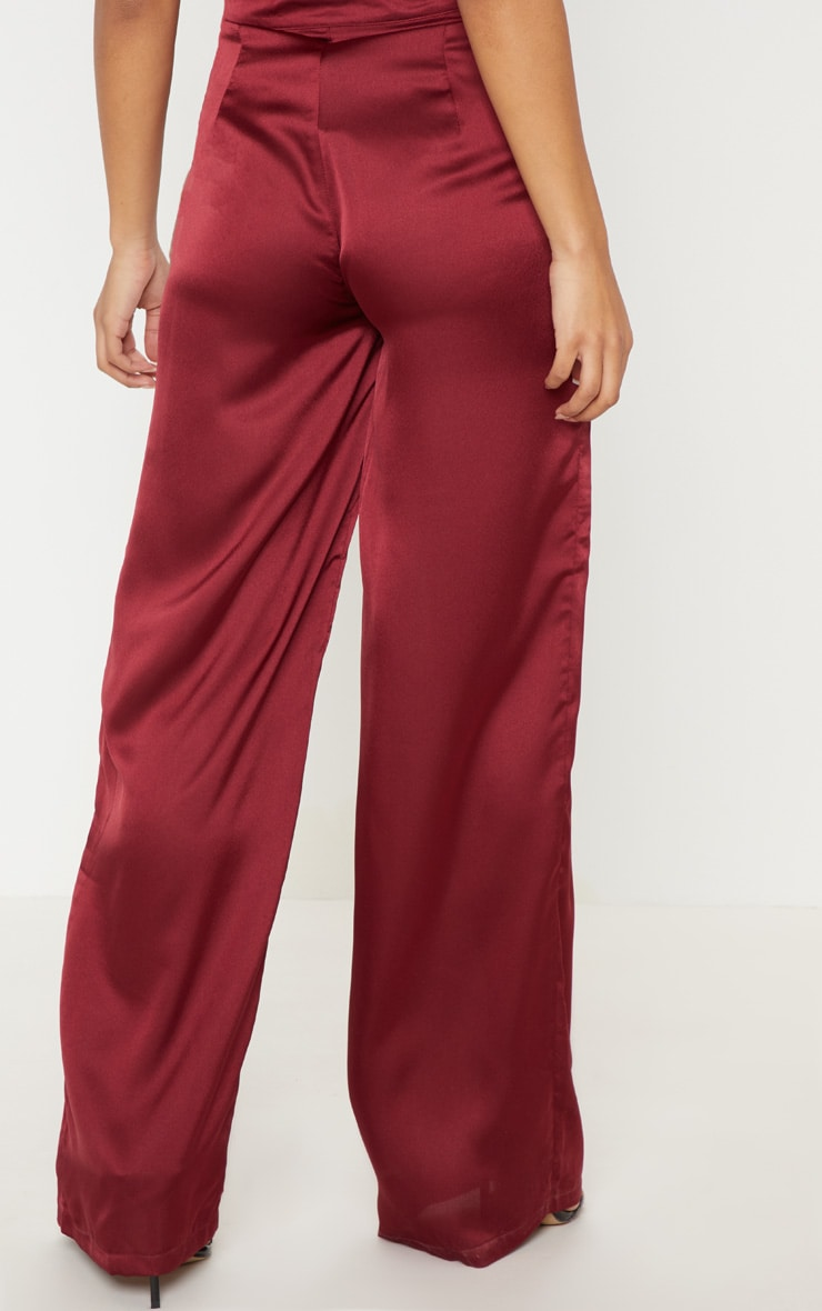 Maroon Satin D Ring Belt Wide Leg Trouser 4