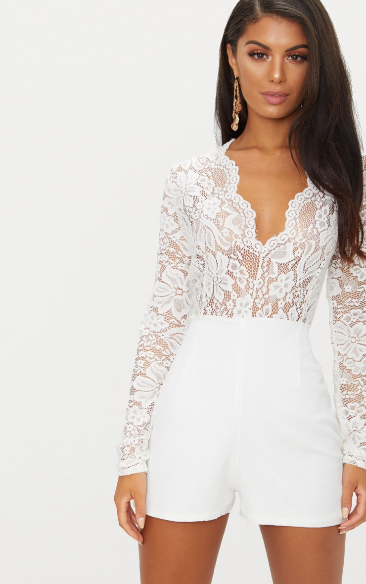 White Lace Long Sleeve Plunge Playsuit 1