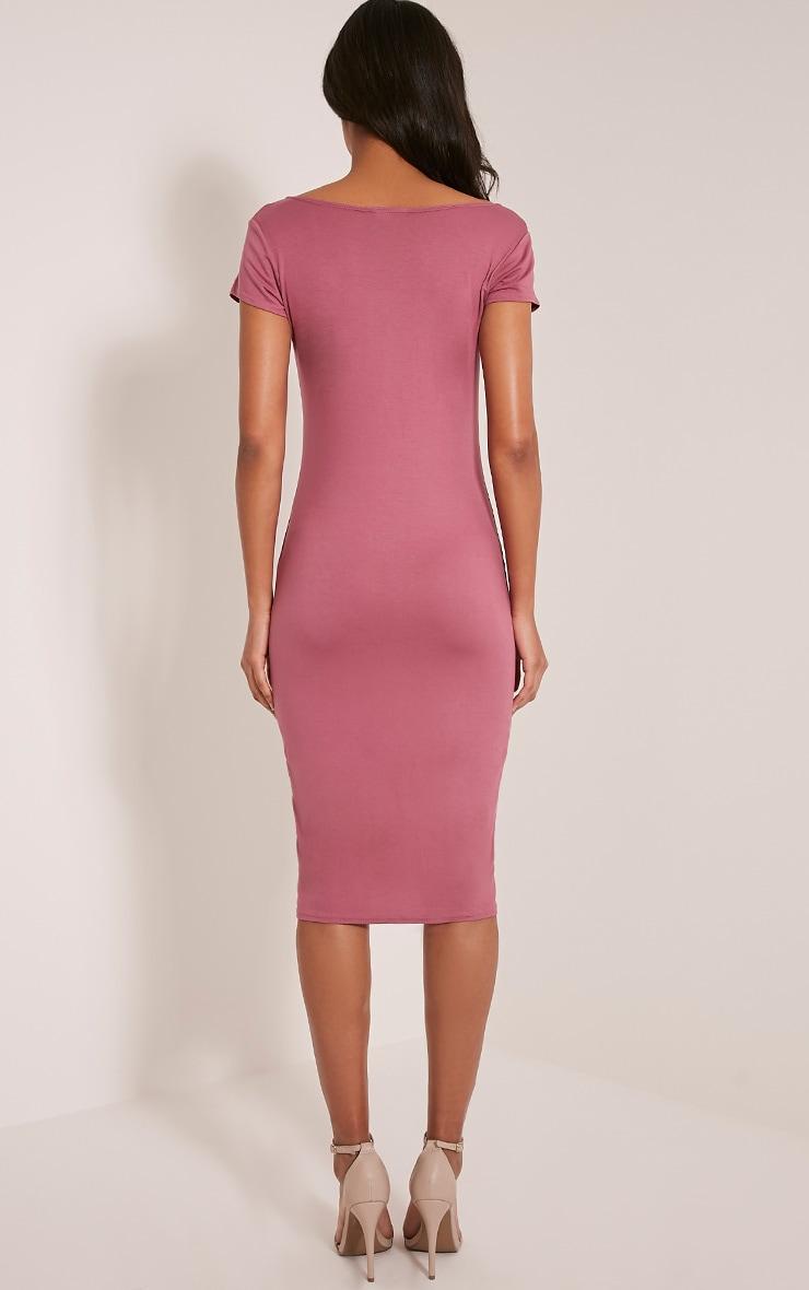 Basic Rose Capped Sleeve Midi Dress 2