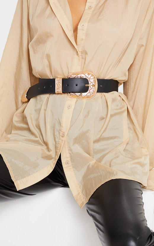 Black PU Gold Chunky Stars Western Buckle Belt 1