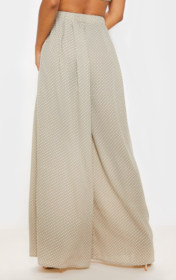Sage Green Polka Dot Print Wide Leg Trouser 3