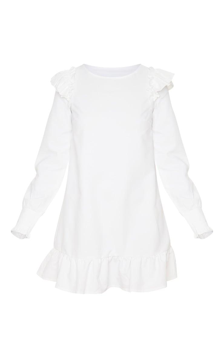 Petite - Mini-robe blanche à ourlet volanté et manches longues 3