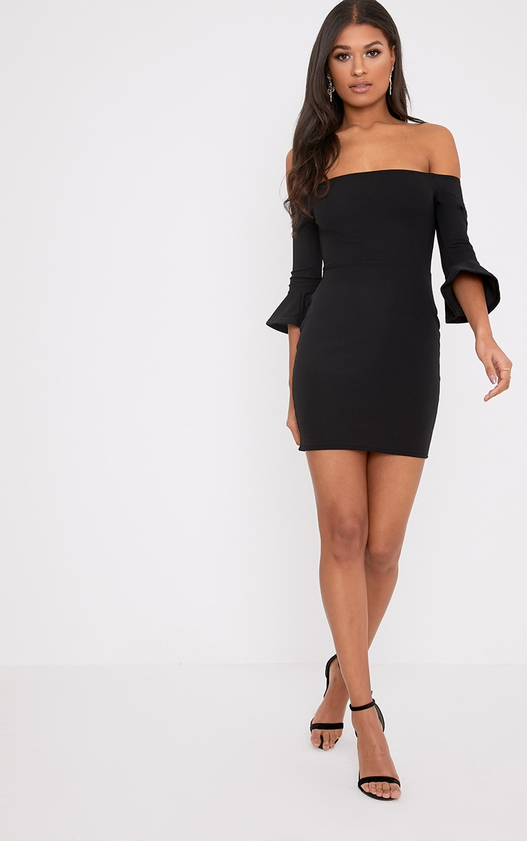 Lillianna Black Bardot Frill Cuff Bodycon Dress  4