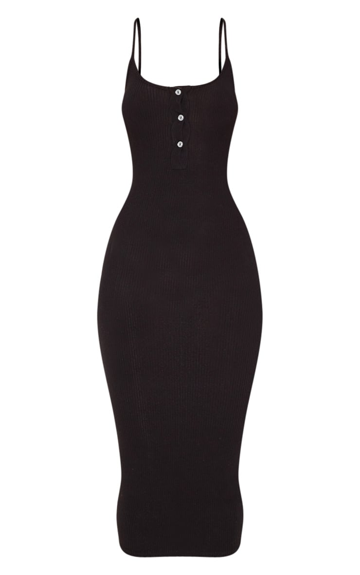 Black Soft Rib Button Front Strappy Midaxi Dress 3