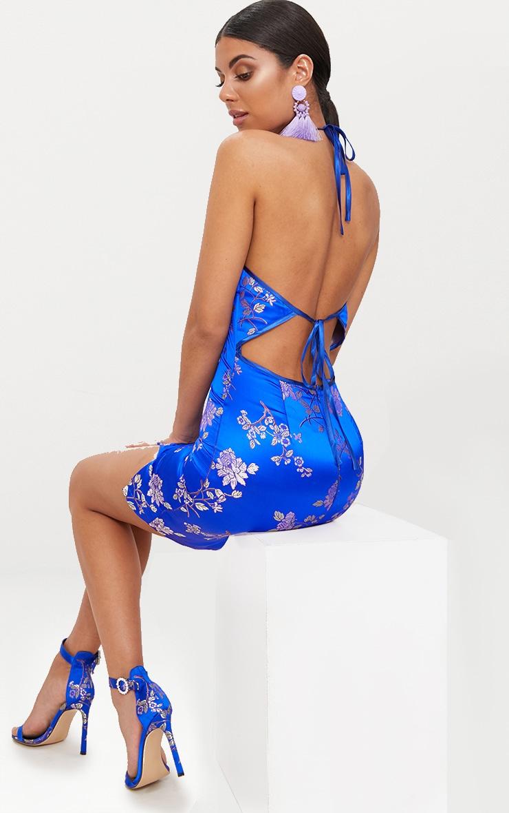 Cobalt Oriental Jacquard High Neck Strappy Back Bodycon Dress 2