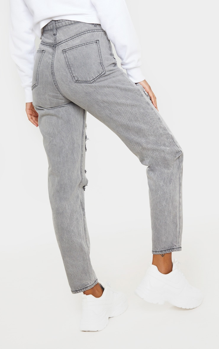 PRETTYLITTLETHING Grey Distressed Mom Jean 4