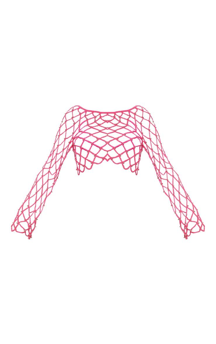 Hot Pink Crochet Beaded Long Sleeve Top  3