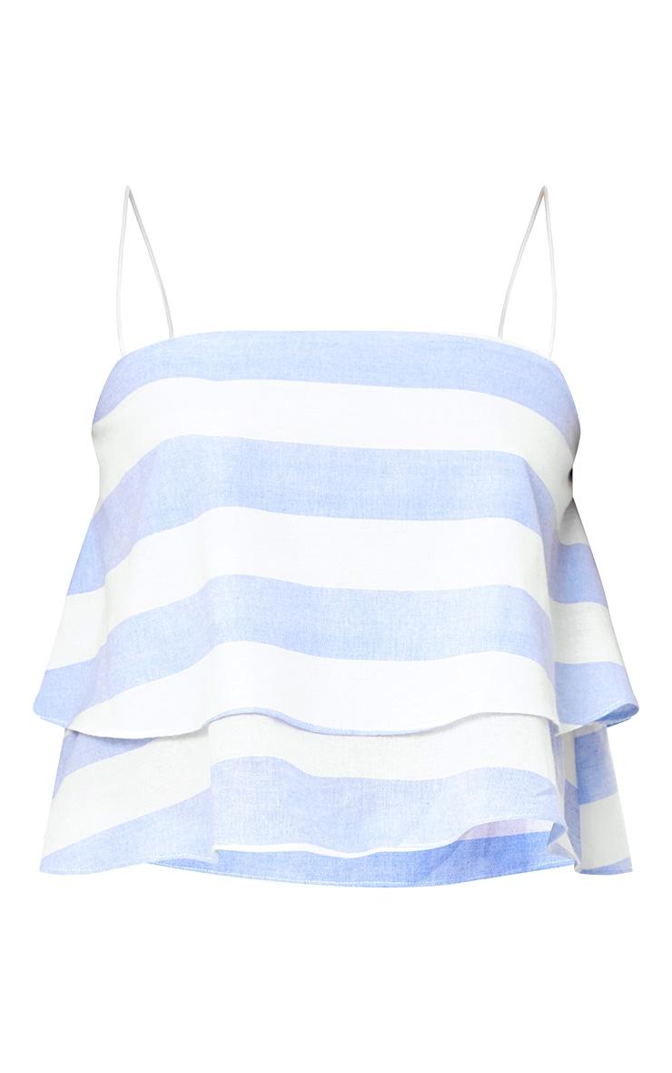 Baby Blue Bold Stripe Beach Crop Top  3